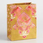 Small Green Priti Handmade Paper Gift Bags Set of 2