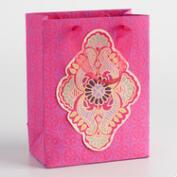 Small Pink Cutout Handmade Paper Gift Bags Set of 2