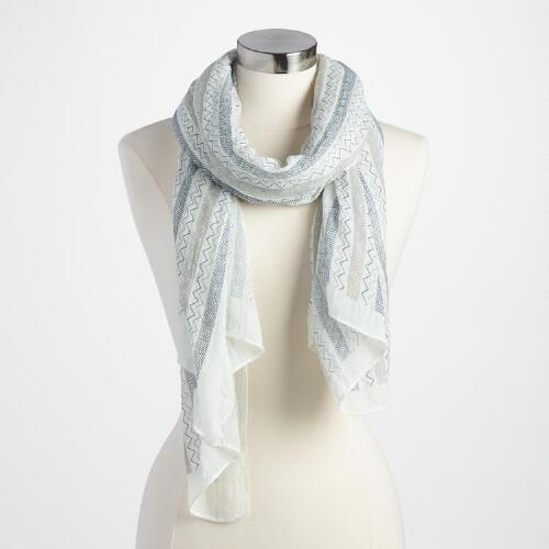 Blue and White Zigzag Scarf