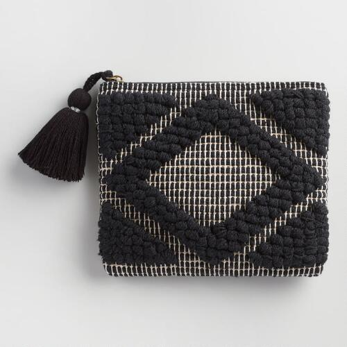 Black and White Handloom Pouch