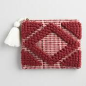 Burgundy and White Handloom Pouch