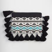 Blue and Black Jacquard Pouch with Tassels