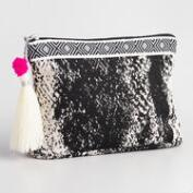 Black and White Marble Pouch
