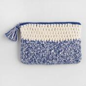 Blue and White Crochet Pouch