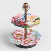 Floral Two Tiered Jewelry Holder