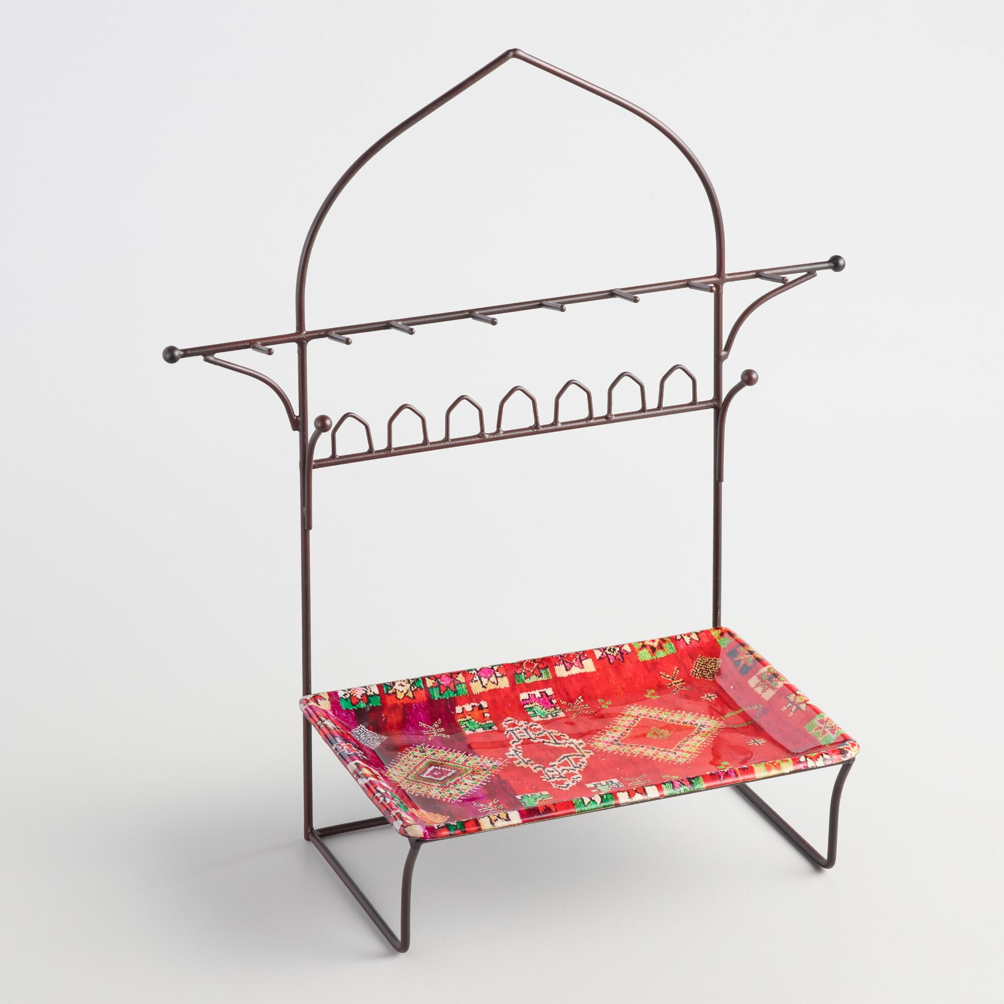 Large Red Rug Jewelry Stand