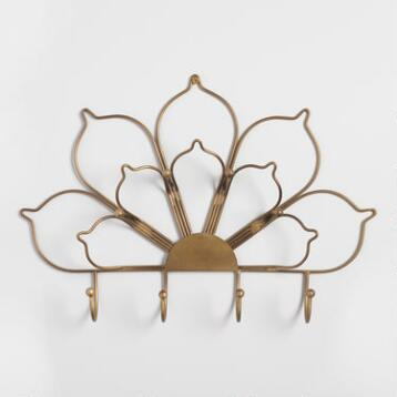 Gold Lotus Wall Jewelry Holder