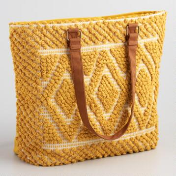 Yellow Textured Carpet Tote