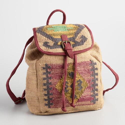 Pink and Tan Carpet Backpack