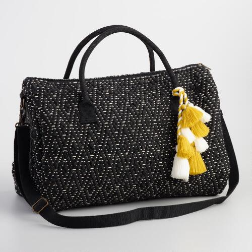 Black and White Woven Weekender Bag