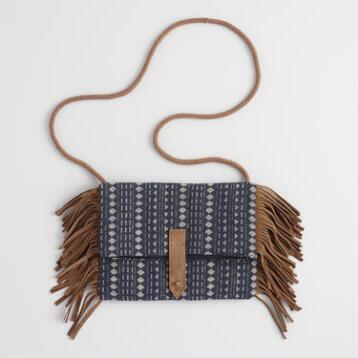 Navy Jacquard Crossbody with Suede Fringe