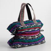 Large Multicolor Jacquard Stripe Tote