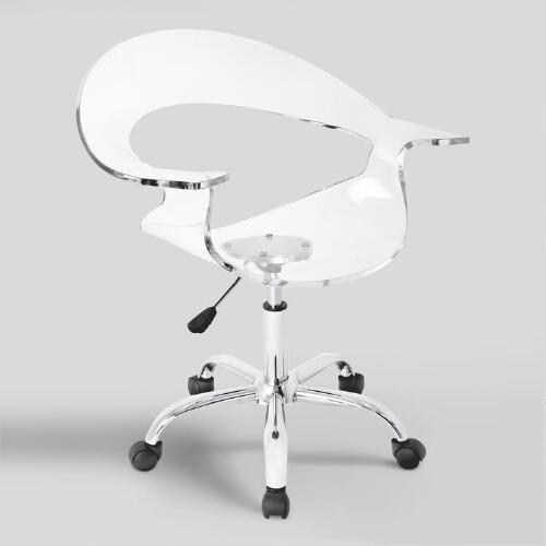 clear acrylic swivel bucket office chair world market