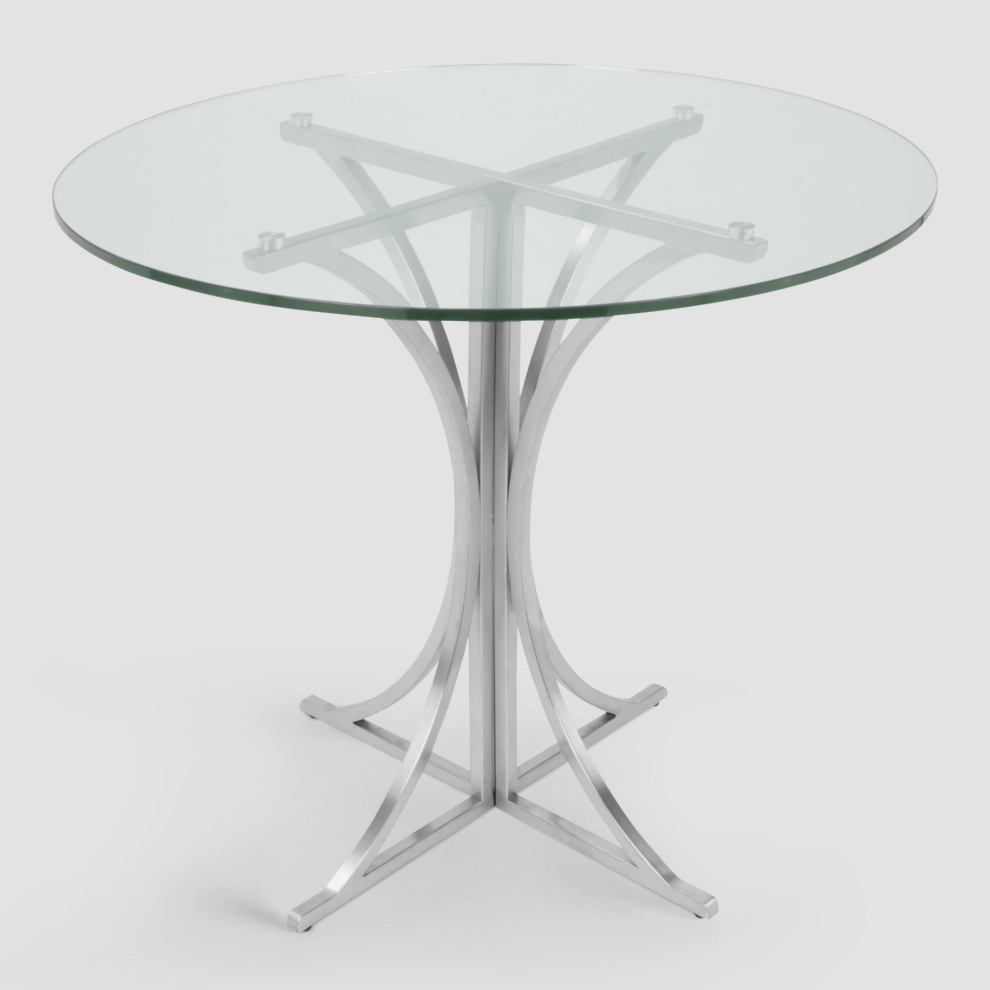 Metal and glass nerissa dining table world market for Metal glass dining table