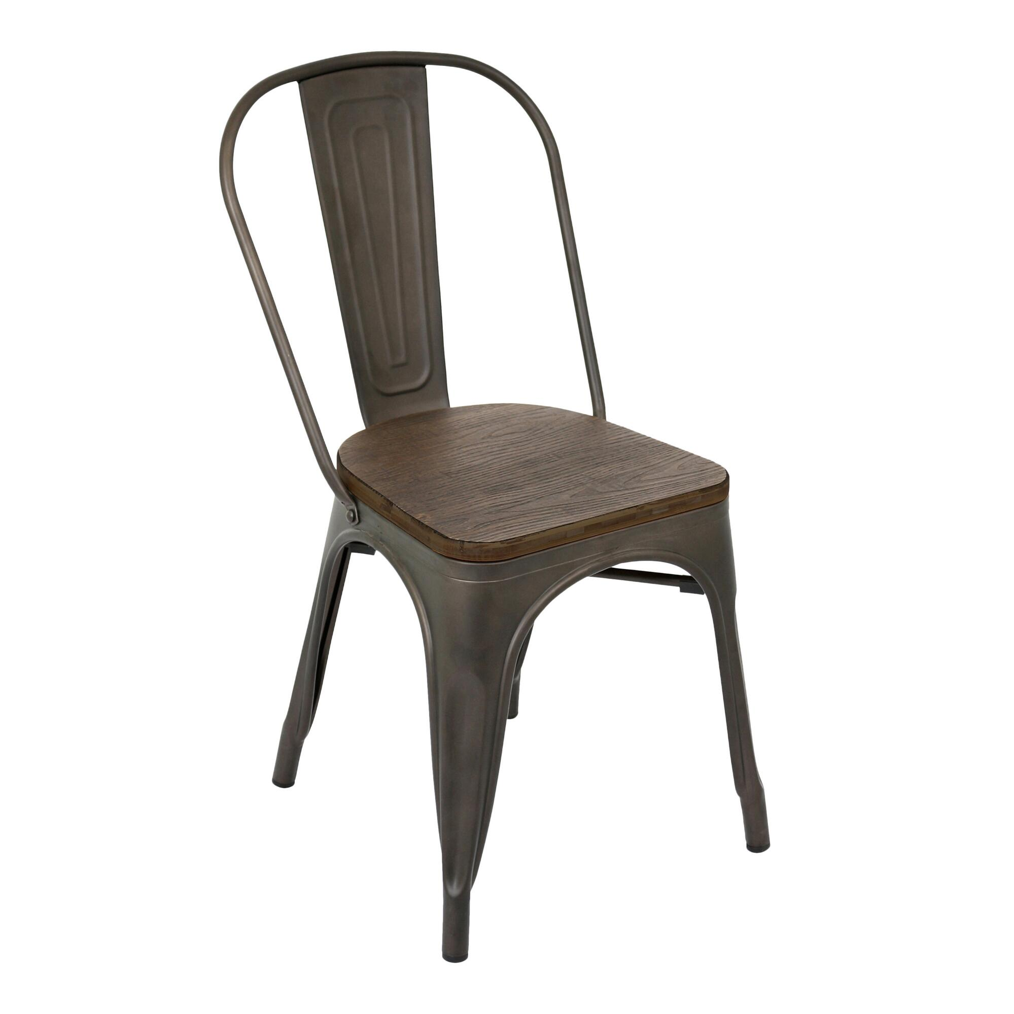 Espresso metal and wood arwen dining chairs set of