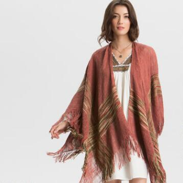 Rust Marfa Wrap with Fringe