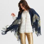 Navy Marfa Wrap with Fringe