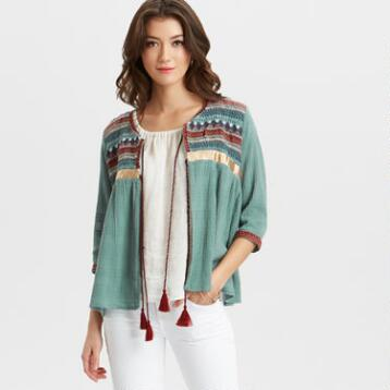 Dusty Teal Embroidered Arleen Jacket