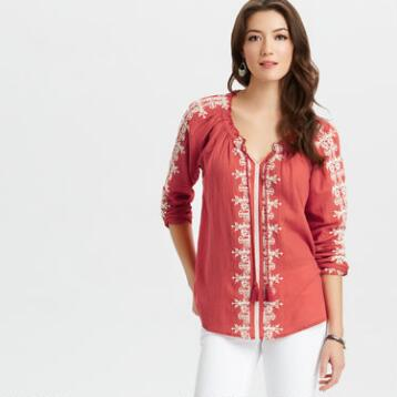Coral Embroidered Haydee Top