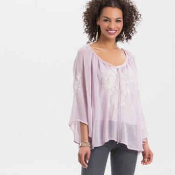 Lilac Lena Embroidered Top