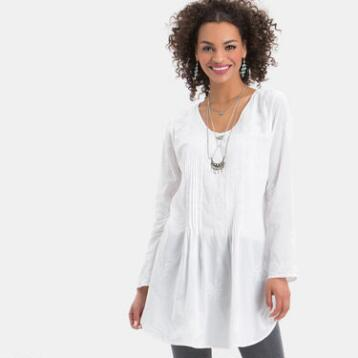 White Elle Embroidered Pleated Tunic