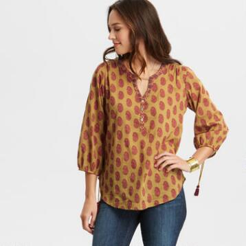 Priya Mustard Yellow Paisley Top