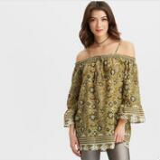 Olive Kalamkari Off the Shoulder Tunic