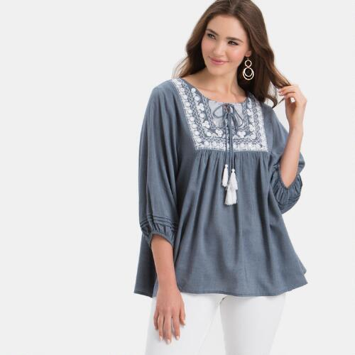 Blue chambray mirrored top world market for Cuisine you chambray