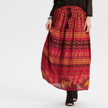 Red Tassia Maxi Skirt