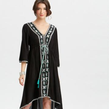 Embroidered Sophie Peasant Dress