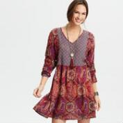 Burgundy Mixed Print Dress