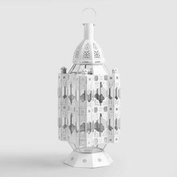 Extra Large White Metal Amira Tabletop Lantern