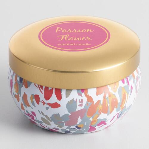 Passion Flower Candle Tin with Gold Lid