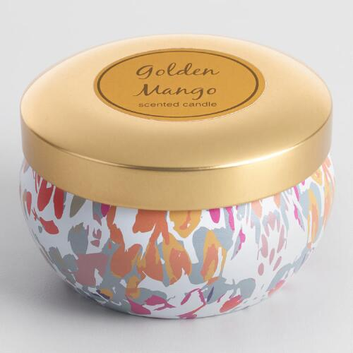 Golden Mango Candle Tin with Gold Lid