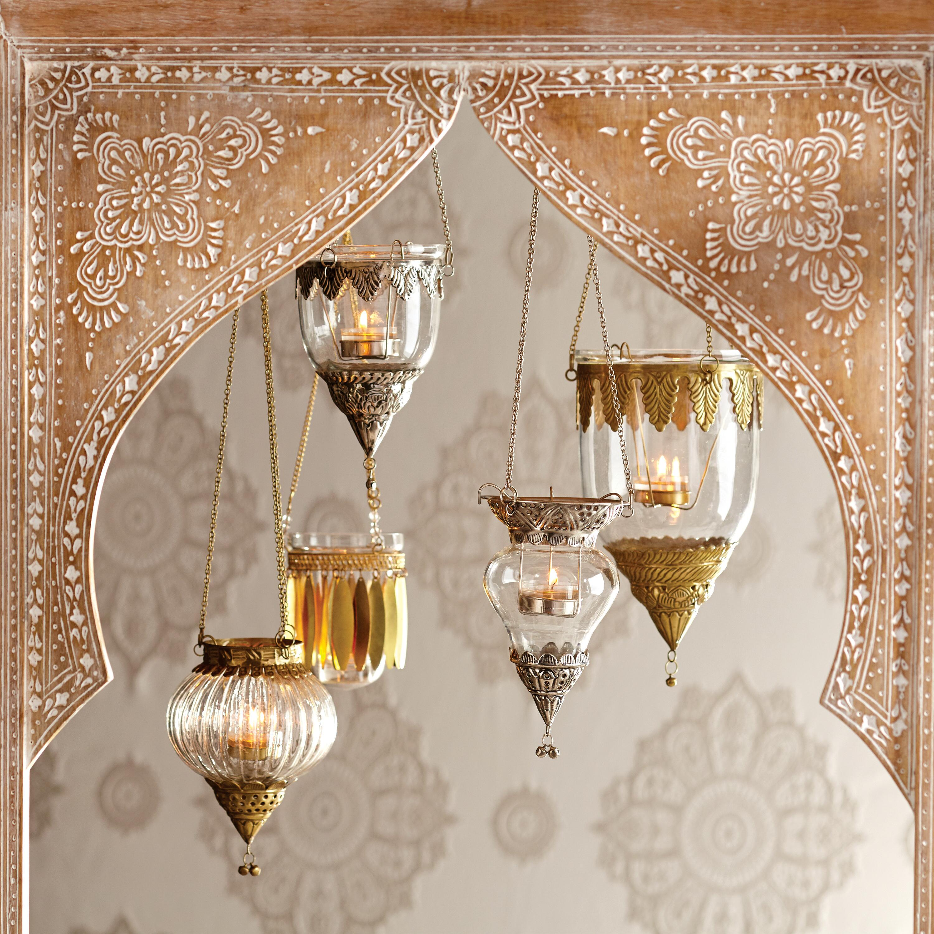 Antiqued Brass Indian Hanging Lanterns Set Of 3 Glass By