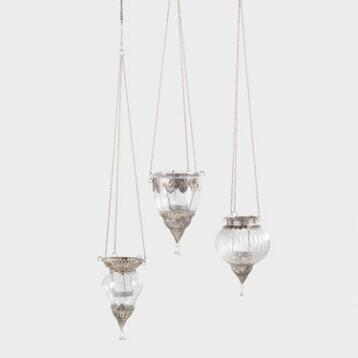 Antique Zinc Indian Style Hanging Lantern Set of 3