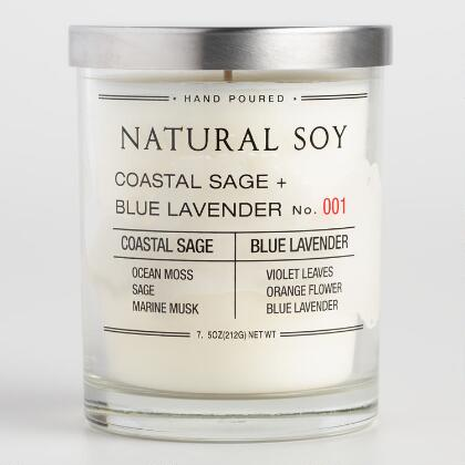Coastal Sage and Blue Lavender Filled Soy Candle