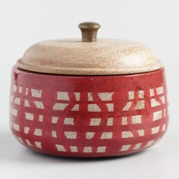 Red Geometric Hibiscus Papaya Terracotta Filled Candle