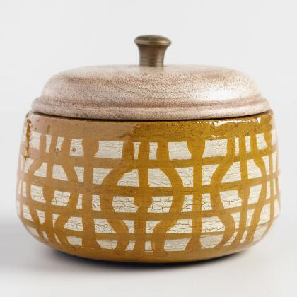 Yellow Geometric Soleil Terracotta Filled Candle
