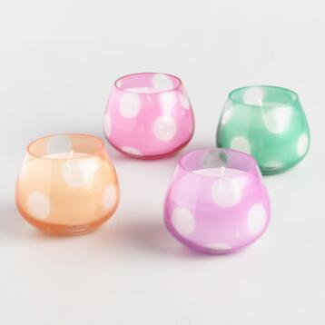 Polka Dot Filled Votive Candles Set of 4