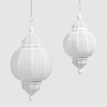 White Metal Amira Finial Hanging Lantern