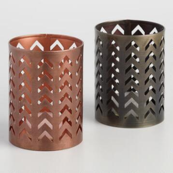 Antiqued Metal Chevron Cutout Candleholder