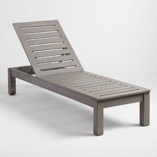 Gray Wood Praiano Chaise Lounger
