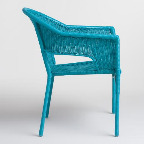 Surf Blue All Weather Wicker Stacking Tub Chairs Set Of 2 World Market