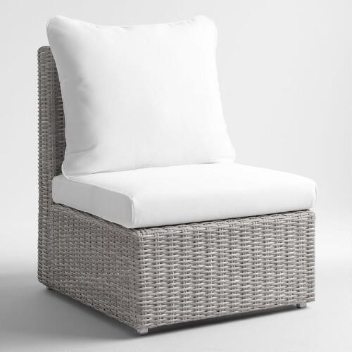 Gray All Weather Wicker Veracruz  Sectional Armless Chair