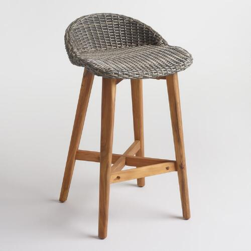 Gray Wicker and Wood Taormina Barstools Set of 2