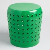 Green Metal Samara Drum Stool