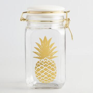 Pineapple Glass Jar with White Ceramic Clamp Lid