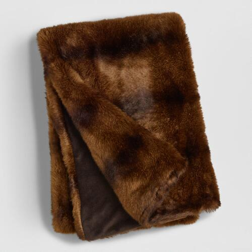 Chocolate Faux Fur Throw