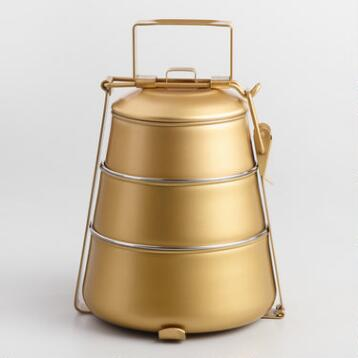 Gold Tapered 3 Tier Tiffin Lunch Box